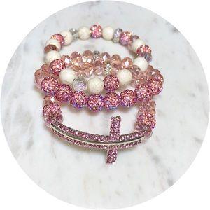 Jewelry - 3 Piece Pink Beaded Cross Bracelet Set